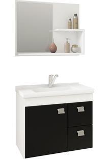 Conjunto Para Banheiro Com 1 Porta E 2 Gavetas Hortência-Mgm - Branco / Preto