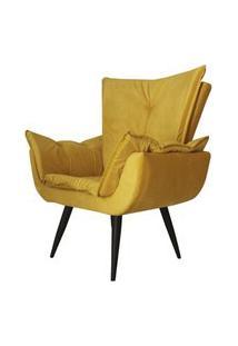 Poltrona Decorativa Emília Aba Pés Palito Suede Amarelo - Ds Móveis