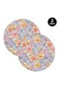Sousplat Mdecore Floral 35X35Cm Roxo 2Pçs
