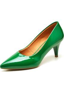 Scarpin Casual Ellas Online Salto Baixo Verde