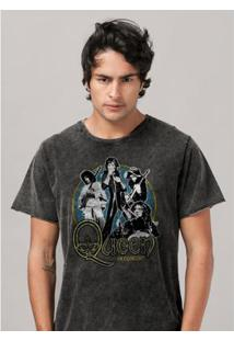 Camiseta Bandup! Marmorizada Queen In Concert - Masculino-Preto