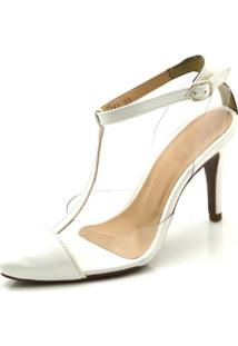 Sapato Scarpin Aberto Em Napa Branca Com Transparência