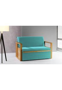 Sofá Cama Compacto Para Casal Akropi - Sofá Bicama Estofado Verniz Mel Tecido Azul Turquesa - 128X90X85Cm