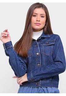Jaqueta Jeans Ex Adverso Básica Feminina - Feminino-Azul