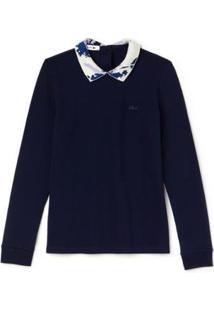 Camisa Polo Manga Longa Lacoste Feminina - Feminino-Azul Navy