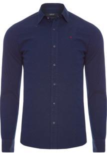 Camisa Masculina Tricoline Botonê - Azul Marinho