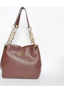 Bolsa Em Couro Com Corrente- Marrom & Dourada- 26X31Di Marlys