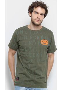 Camiseta Ecko Mini Logo Masculina - Masculino-Verde Militar