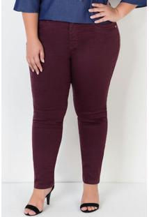 Calça Sarja Reta Plus Size Bordô