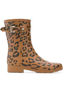 Hunter Galocha Com Estampa De Leopardo - Marrom