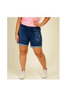 Bermuda Plus Size Feminina Jeans Puídos