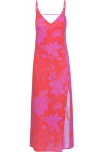 Vestido Coluna Floral Nira - Vermelho