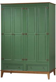 Armario Malibu 4 Portas E 2 Gavetas Cor Verde Com Amendoa 204 Cm - 63658 - Sun House