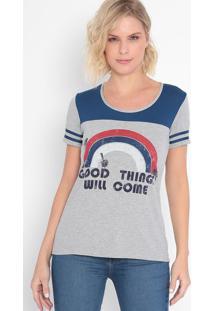 """Camiseta """"Good Things""""- Cinza & Azul Marinho- Malweemalwee"""
