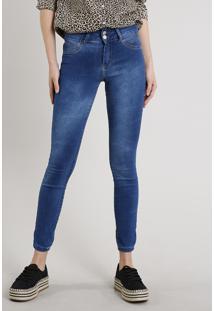 Calça Jeans Feminina Skinny Pull Up Azul Médio