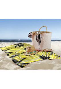 Toalha De Praia / Banho Flamingos Yellow