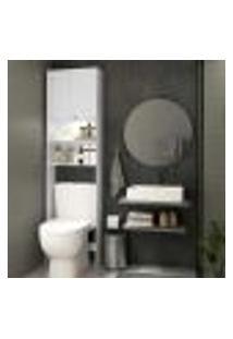 Armário Banheiro Com Led Para Vaso Sanitário E 2 Portas Multimóveis Branco