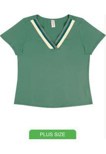 Blusa Em Viscose Com Decote V Verde