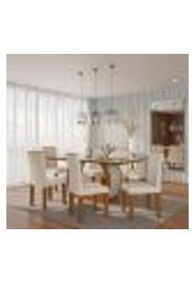 Conjunto De Mesa De Jantar Com Vidro E 6 Cadeiras Sienna I Veludo Imbuia E Creme