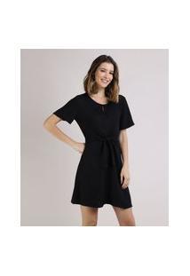 Vestido Feminino Curto Com Nó Manga Curta Preto
