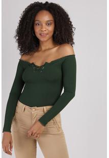Blusa Feminina Ombro A Ombro Com Frufru Manga Longa Verde Escuro