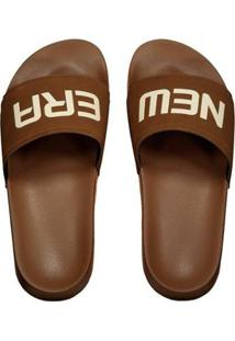 Chinelo New Era Slide Tipia Masculino - Masculino-Marrom