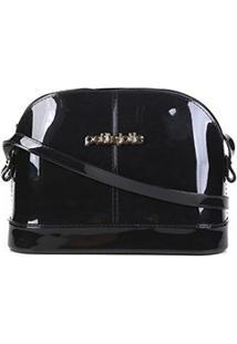 Bolsa Petite Jolie Mini Bag Verniz Mind Feminina - Feminino-Preto