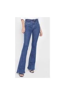 Calça Jeans Lança Perfume Flare Pespontos Azul