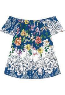 Blusa Ciganinha Secret Feminina - Feminino-Azul