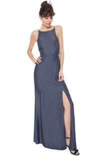 Vestido Triton Longo Fenda Azul
