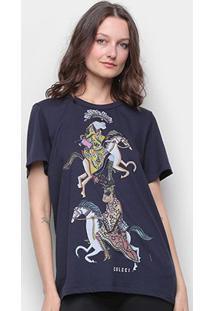Camiseta Colcci Básica Estampada Feminina - Feminino-Azul Escuro