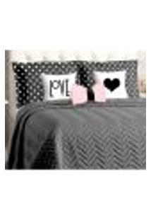 Kit Cobre Leito Queen Size Preto Matelado Liso 8 Peças Com Porta Travesseiros E Almofadas Decorativas