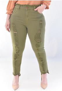 Calã§A Jeans Plus Size Verde: Verde: 46 - Verde - Feminino - Dafiti