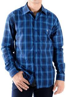 Camisa Zimpool Social Slim Fit Manga Longa Xadrez Azul