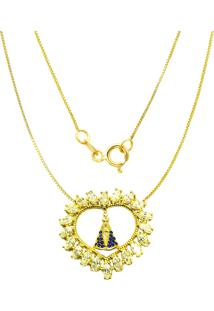 Gargantilha Prata Mil Nossa Senhora C/ Zircã´Nia Folheado Em Ouro Dourado - Dourado - Feminino - Dafiti