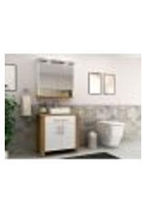 Conjunto Para Banheiro Com Led Roma 4 Pt 1 Gv Branco E Mel