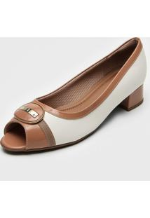Peep Toe Piccadilly Aplique Off-White/Nude