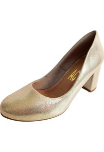 Scarpin Ac Bico Redondo Metalizado Dourado Multicolorido