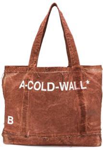 A-Cold-Wall* Bolsa Tote Estampada Com Efeito Puído - Marrom