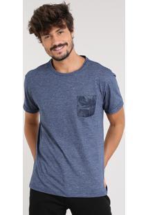 Camiseta Masculina Com Bolso Estampado Manga Curta Gola Careca Azul