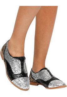 Oxford Shoestock Glitter - Feminino-Preto