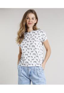 Blusa Feminina Estampada De Zebra Manga Curta Decote Redondo Cinza Mescla Claro