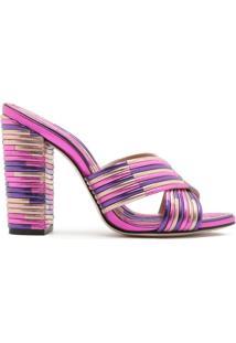 Sandália Mule Textures Metallic Purple | Schutz