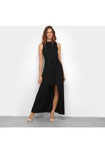 Vestido Allexia Longo Sobreposição - Feminino-Preto
