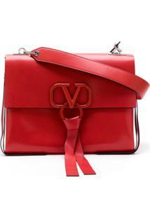 Valentino Bolsa Tote De Couro - Vermelho