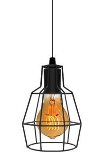 Pendente Aramado Preto Com Lâmpada Filamento Led A19 Sl2482 Toplux - Kanui