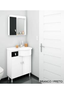 Gabinete Para Banheiro Kit Ks - Balcão + Espelheira + Marmorite - Branco Com Preto