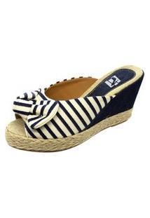 Sandália Mule Anabela Mariha Calçados Listra Azul