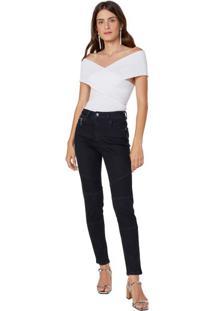 Calça Jeans Skinny Biker Pesponto