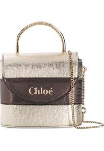 Chloé Aby Logo Crossbody Bag - Metálico